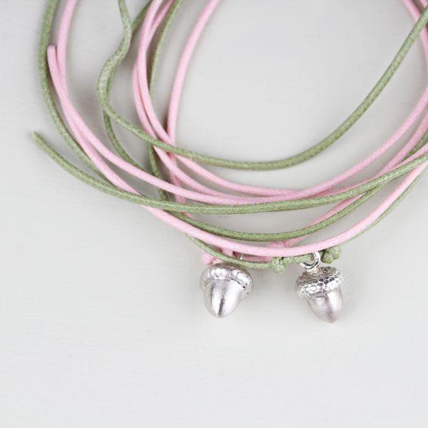 Colored cotton string bracelets with silver acorn pendant _ maschio gioielli milano (1)