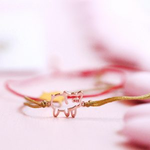 Thin beige string bracelet with pink silver wire pig _ maschio gioielli milano