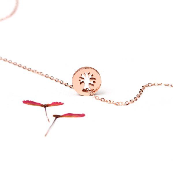 Collana lunga in argento rosa con ciondolo ad albero e zirconi sul bordo _ maschio gioielli milano