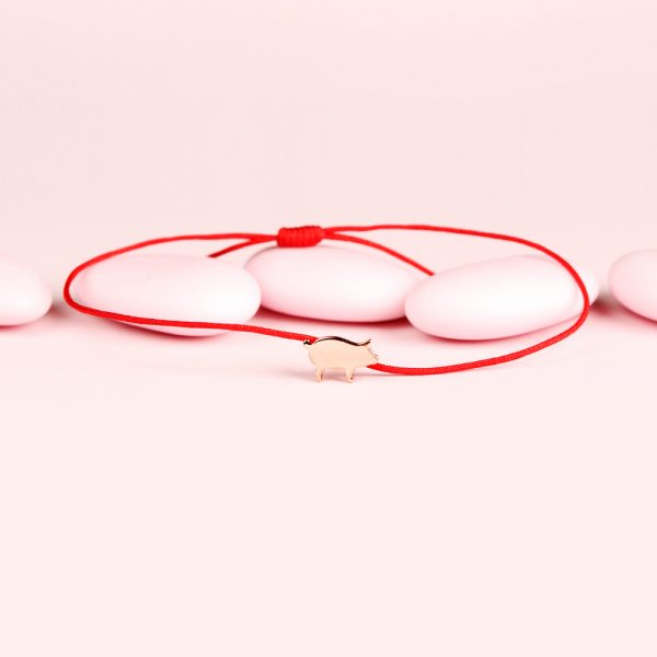 Thin red string bracelet with pink silver pig _ maschio gioielli milano (2)