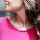 Double-layer thin chain necklace in pink silver and cubic zirconia stones _ maschio gioielli milano (1)