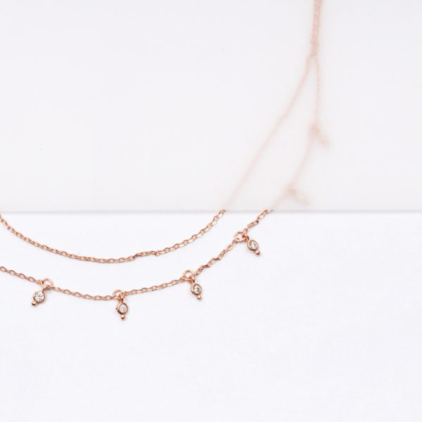 Double-layer thin chain necklace in pink silver and cubic zirconia stones _ maschio gioielli milano (3)