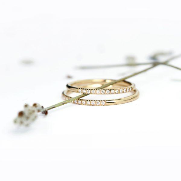 Anello doppio in stile eternity in oro giallo e diamanti _ maschio gioielli milano