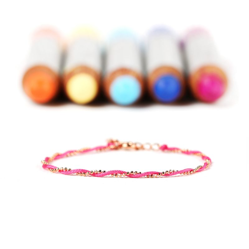 Intertwined bracelet with fuchsia string and silver chain _ maschio gioielli milano