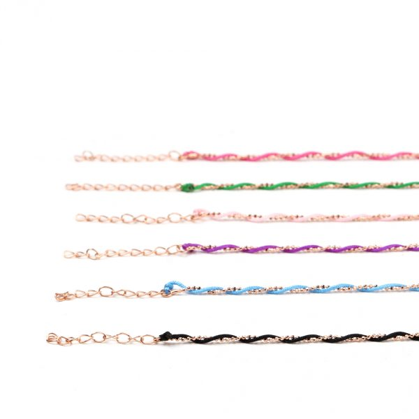 Intertwined bracelets with colored string and silver chain _ maschio gioielli milano
