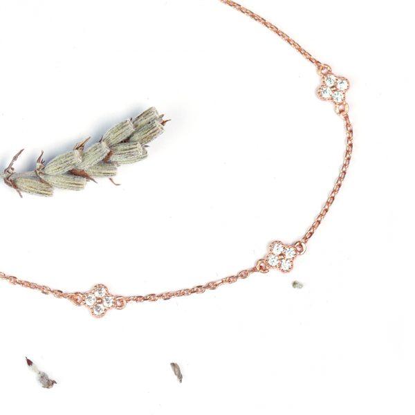 Bracciale catenina in argento rosa con fiorellini di zirconi _ maschio gioielli milano