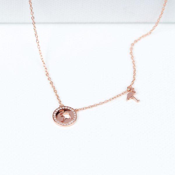 Pink silver chain short necklace with flamingo pendants _ maschio gioielli milano