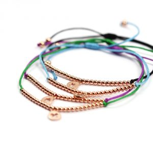 Stacked colored string bracelets with silver beads and pendant _ maschio gioielli milano