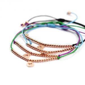 Braccialetti con cordino colorato e ciondolo in argento rosa _ maschio gioielli milano