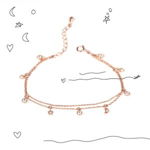 Double layered chain bracelet in pink silver with zirconia pendants _ maschio gioielli milano
