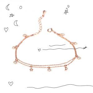 Braccialetto doppia catena in argento rosa con ciondoli con zirconi _ maschio gioielli milano