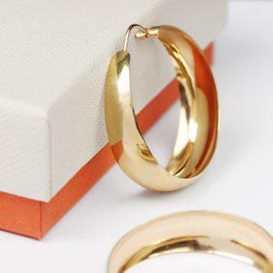 Orecchini a cerchio larghi in oro giallo _ diametro L  _ maschio gioielli milano