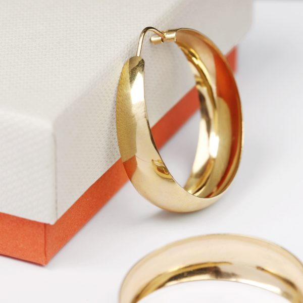 Wide hoop earrings in yellow gold _ LARGE SIZE _ maschio gioielli milano