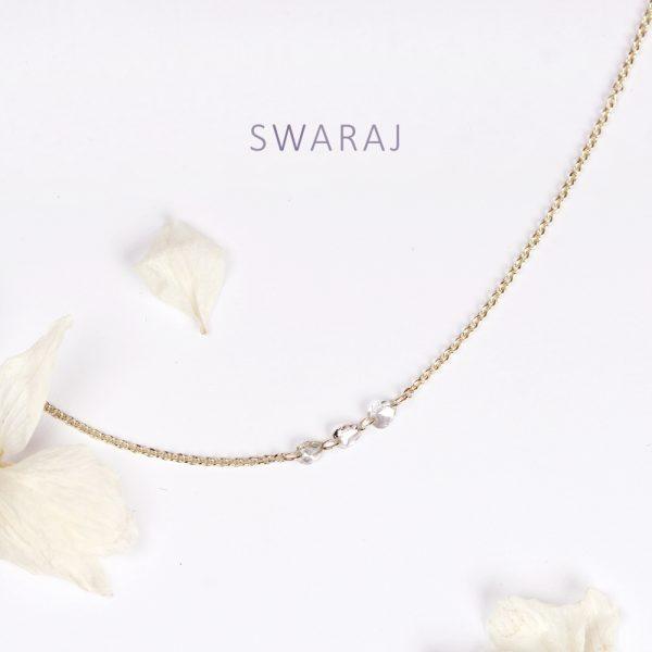 Minimalist thin rolò chain necklace with asymmetric faceted loose diamonds _ maschio gioielli milano (5)