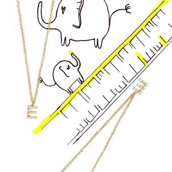 Thin gold chain necklace with diamonds pavè initial pendant _ E _ maschio gioielli milano (2)
