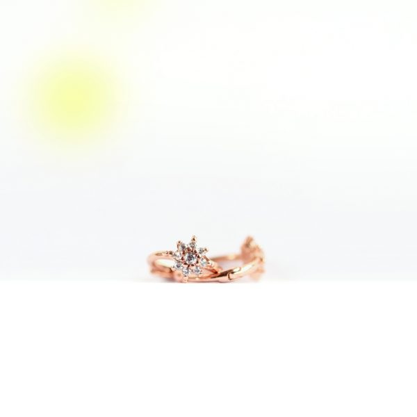 Pink silver and cubic zirconia pavé small flowers hoop earrings _ maschio gioielli milano