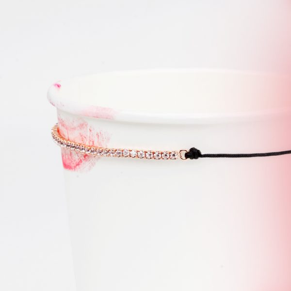 Pink silver and zirconia pavè tennis bracelet with black cord _ maschio gioielli milano (6)