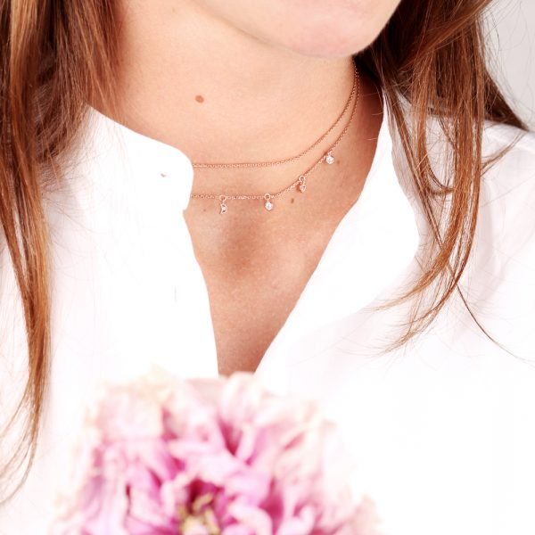 Pink silver thin chain short necklace with mini zirconia pendants _ maschio gioielli milano (2)