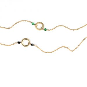 Thin gold chain bracelets with stone beads and empty circle _ maschio gioielli milano