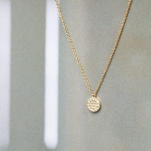 Gold thin chain necklace with white diamonds pavè round pendant _ maschio gioielli milano