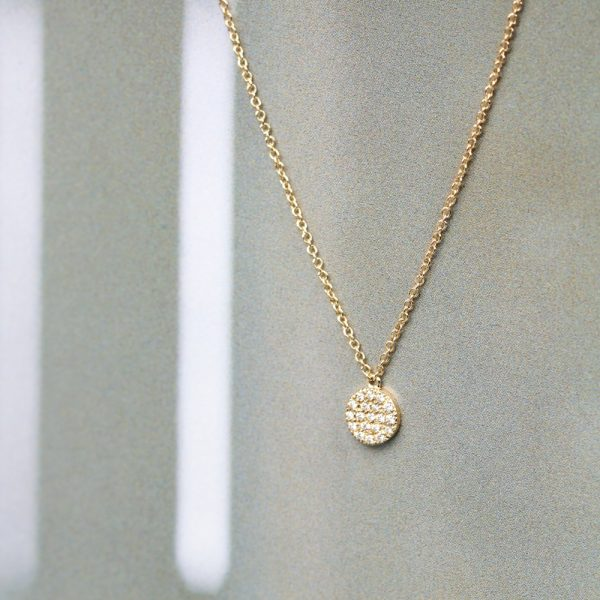 Gold thin chain necklace with white diamonds pavè round pendant _ maschio gioielli milano (5)