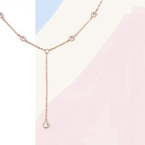 Short sautoir necklace in pink silver and cubic zirconia _ maschio gioielli milano