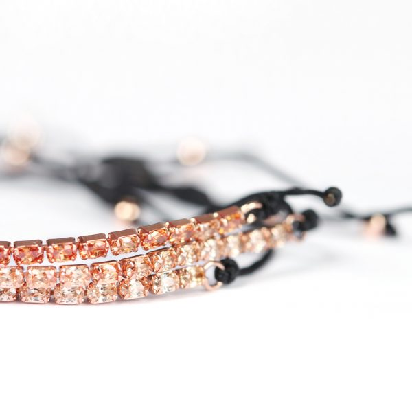 Tennis bracelet with rectangular stones in three colors and adjustable string _ maschio gioielli milano