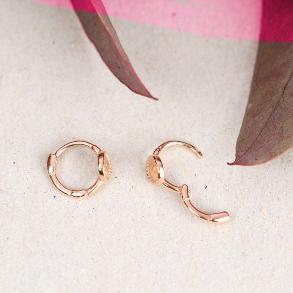Piccoli orecchini a cerchio in argento rosa _ maschio gioielli milano
