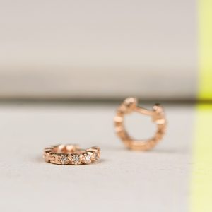 Extra small huggie hoop earrings in pink silver with zirconia pavé _ maschio gioielli milano
