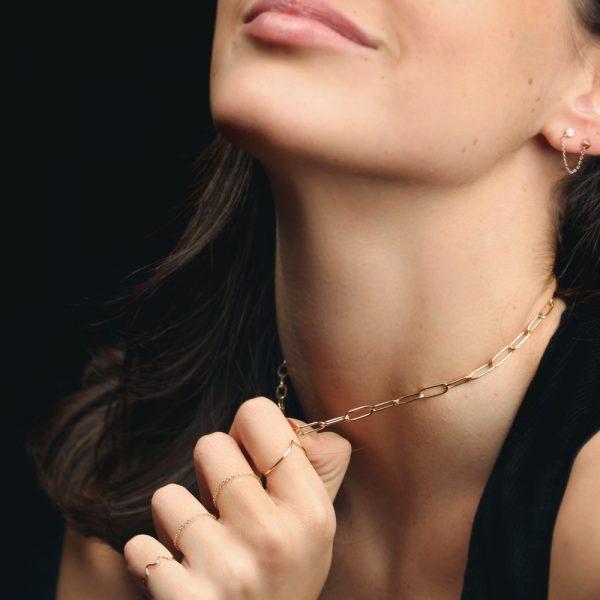 Yellow gold rectangular link chain short necklace _ maschio gioielli milano