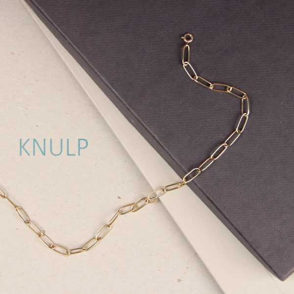 Yellow gold rectangular link short necklace _ maschio gioielli milano (11)