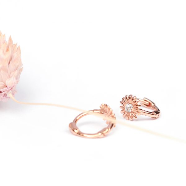 Extra tiny flower hoops in pink silver and zirconia _ maschio gioielli milano