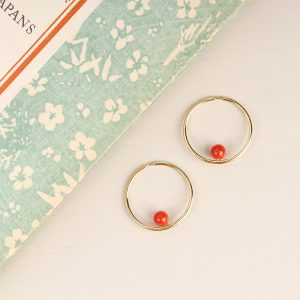 Gold hoop earrings with red coral beads _ maschio gioielli milano