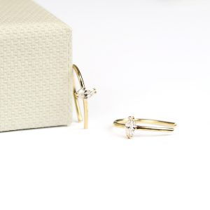 Gold tiny earrings with navette cut diamonds _ maschio gioielli milano