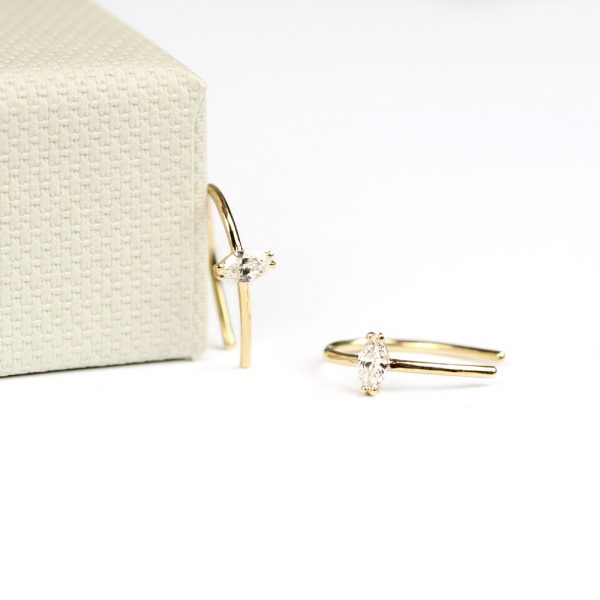 Gold tiny earrings with navette cut diamonds _ maschio gioielli milano (1)