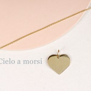 Yellow gold chain necklace with small heart pendant to be customized _ maschio gioielli milano