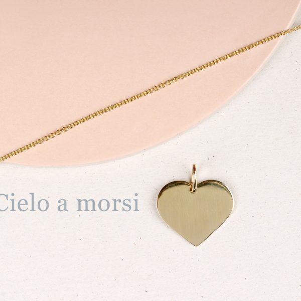 Ciondolo in oro giallo a forma di cuore da personalizzare _ maschio gioielli milano