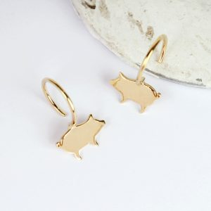 Yellow gold earrings with pig-shaped elements _ maschio gioielli milano