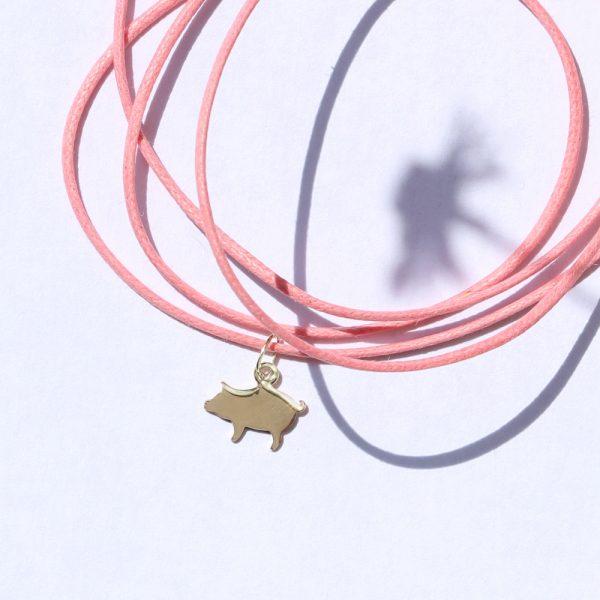 Ciondolo a forma di maialino in oro giallo _ maschio gioielli milano