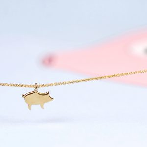 Yellow gold thin chain anklet with pig pendant _ maschio gioielli milano