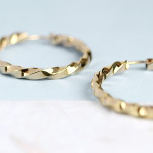 Yellow gold torchon hoop earrings _ two size _ maschio gioielli milano