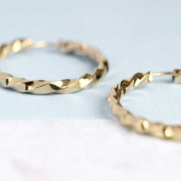 Orecchini a cerchio torchon in oro giallo _ maschio gioielli milano