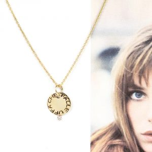 Chain necklace with customized round pendant in yellow gold and diamond _ maschio gioielli milano