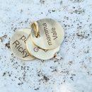 Ciondolo con tre piastre personalizzabili in oro giallo e diamante _ maschio gioielli milano