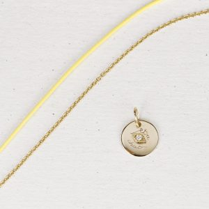 Small pendant with eye in yellow gold and diamond _ maschio gioielli milano