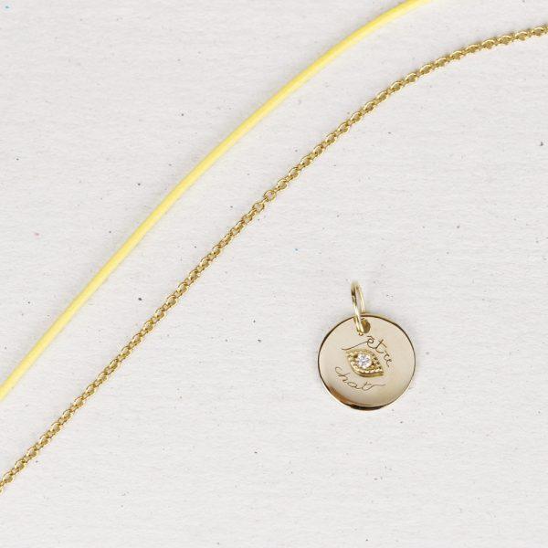 Small pendant with eye in yellow gold and diamond _ maschio gioielli milano (5)