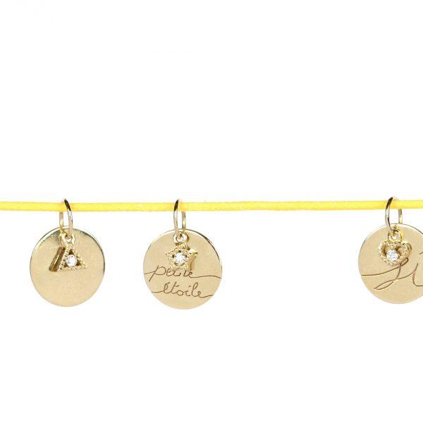 Ciondoli tondi personalizzati in oro giallo con diamantino _ maschio gioielli milano