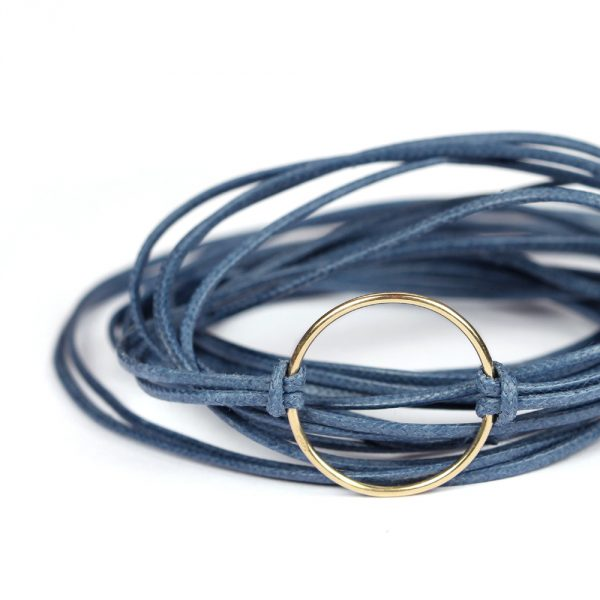 Colored waxed cotton string bracelet with yellow gold circle _ maschio gioielli milano (5)