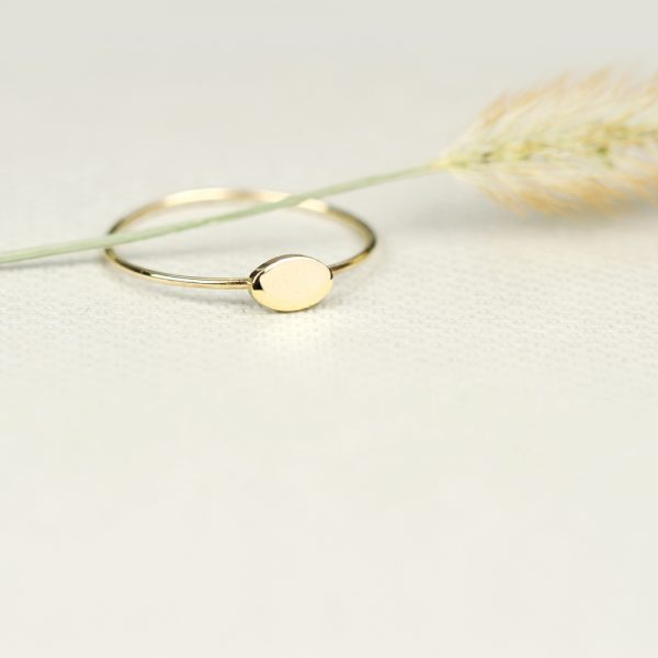 Gold tiny rings with oval plate to be customized _ maschio gioielli milano (4)