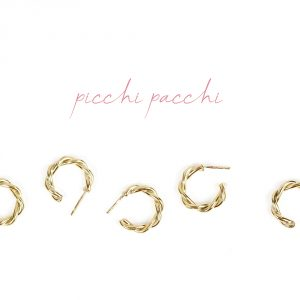 Small twisted hoop earrings handmade in yellow gold _ maschio gioielli milano